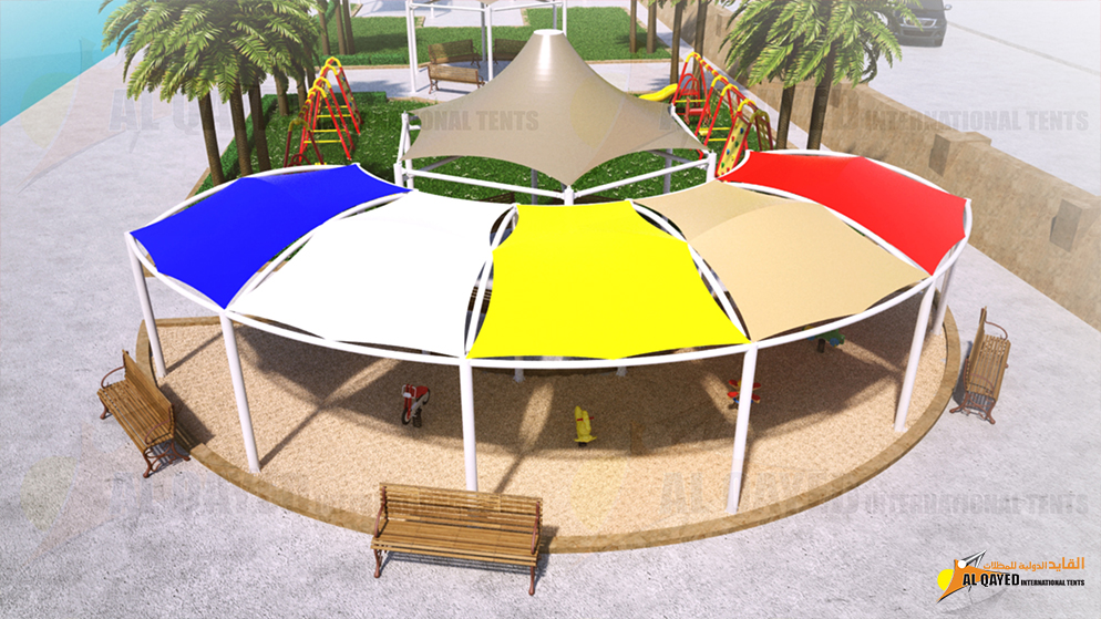 IB.4.A. Sun Shade- (Curved Type) for commercial establishments with pathway and walkways to sitting areas