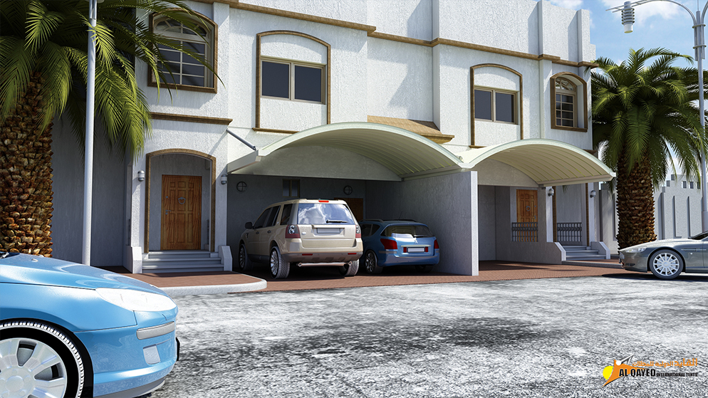 IIA.3.A. Car parking Shade- (Custom Made Type) for private houses with parking spaces that prefer the shade is mounted to walls