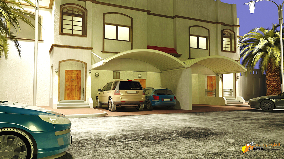 IIA.3.B. Car parking Shade- (Custom Made Type) for private houses with parking spaces that prefer the shade is mounted to walls
